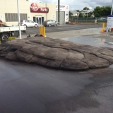 Finished artificial cement rock ramp in Brisbane - front