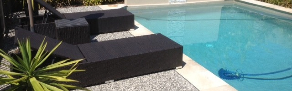 Exposed aggregate concrete for pool – Brisbane